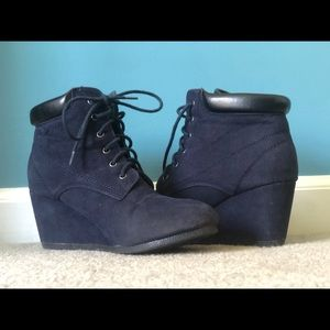 Navy wedge booties - only worn once